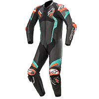 Alpinestars Atem V4 Leather Suit Petrol Fluo Red