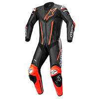 Alpinestars Fusion Leather Suit Black Red Fluo