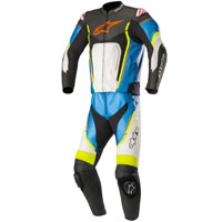 Alpinestars Motegi V2 2pc Leather Suit Blue Fluo Yellow
