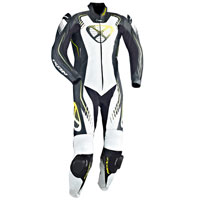 Ixon Leather Suit Starbust Black White Yellow Fluo