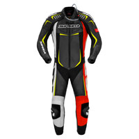Spidi Track Wind Pro Leather Suit Red Fluo Yellow