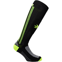 Six2 Mot2 Socks Black Fluo Yellow